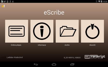 eScriobeDroid rozhraní programu
